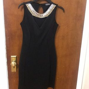 Black simple dress with stones
